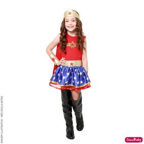 Vestido Fantasia Luxo Mulher Maravilha Infantil Com Capa