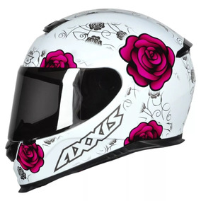 Capacete Fechado Axxis Eagle Flowers Feminino Branco E Rosa