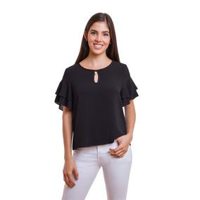Blusa Negra Dama Con Perla En Escote Devendi Denim Co.