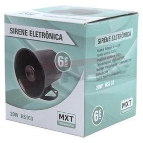 Sirene Eletrônica 6 Tons 12v 20w 116 Db Hs103 - Mxt