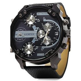 Relógio Militar Geneva Três Fusos Horários Pulseiras Couro