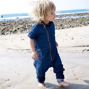 Roupa Bebê Macacão Tipo Jeans Com Zíper Menino Top Importado