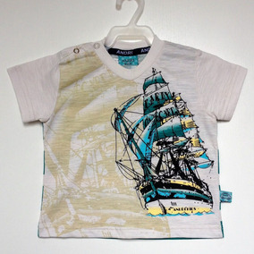 Camiseta Manga Curta Bebê Masculino Andritex Tamanho M