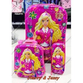 Kit Mochila Infantil Barbie + Lancheira + Estojo 3d