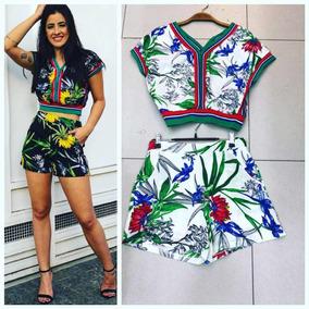 Conjunto Feminino Cropped E Short Estampa Floral Importado