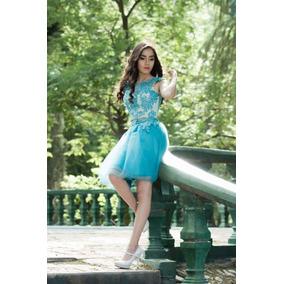 Vestidos cortos de 15 color azul
