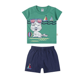 Conjunto Infantil Masculino Elian Praia Camiseta Meia Malha