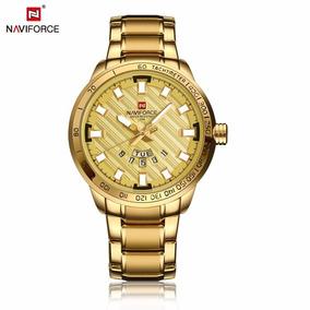 Relogio Masculino Dourado Banhado Naviforce 9090 Promoção