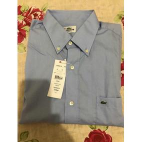 Camisa Lacoste Manga Curta Azul Tamanho 42
