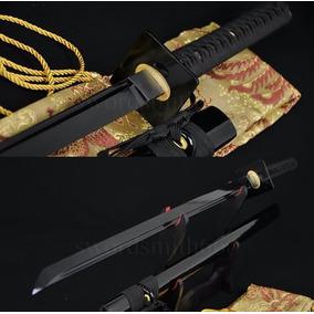 Espada Ninja Afiada Lâmina Negra Corte Ninjato Shinobigatana