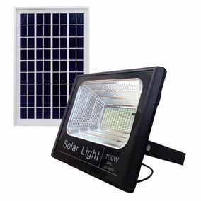 Kit 4 Refletor Led 100w Com Placa Solar Ideal Fazendas Sítio