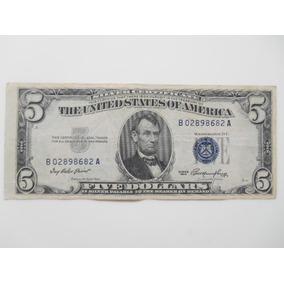 Nota 5 Dolares Antiga 1953 Usa Selo Azul - Envio Cr 8,90