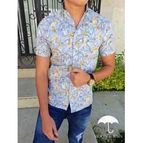 Camisa Slim Fit Blanca Flores Amarillas, Azules Moon & Rain