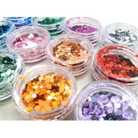 Glitter Hexagonal Holográfico Unhas Ou Facial 12 Cores