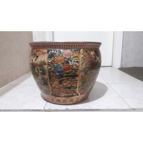 Solido Macetero En Porcelana Viejo Canton Decorado Por Dentr