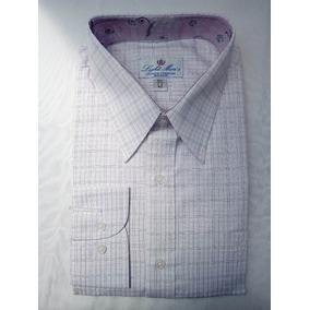 Camisa Blanca Con Cuadros Lila Y Cuello Rosa Flores