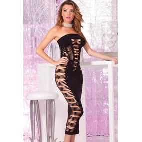 67c1d22103b Sexy Vestido Largo Negro Red Strapless Table Dance 60378