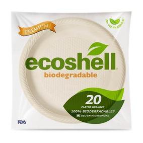 Plato Grande Desechable Biodegradable Ecoshell  paquete 