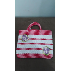 Bolsa De Crochê Pequena Rosa
