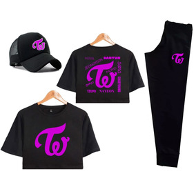 Kit Twice Cropped Calça Bone Twice Todas Integrantes Kpop