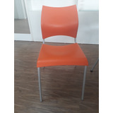 Cadeira Plastica 424 Unimovel Cromado/ Laranja