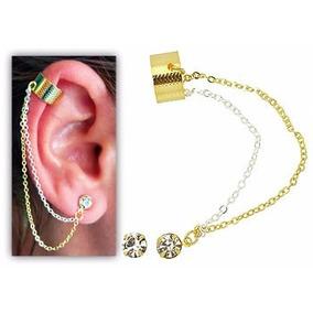Brinco Ear Cuff Foleado A Ouro Com Duas Correntinhas E Stras