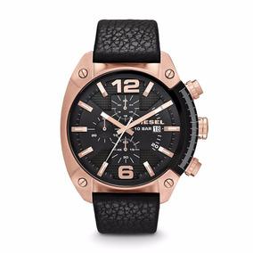 Reloj Diesel Dz4297 Overflow Rose Gold Black Leather