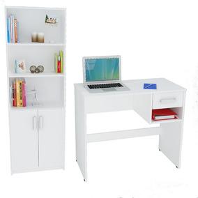Escritorio + Biblioteca Color Blanco