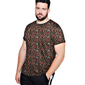 a110f18ad Camiseta Camisa Blusa Plus Flor Tropical - Mais Estilo