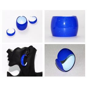 Pulsera Y Aretes Moda Retro Azul Rey Brillos Bisuteria Pc573