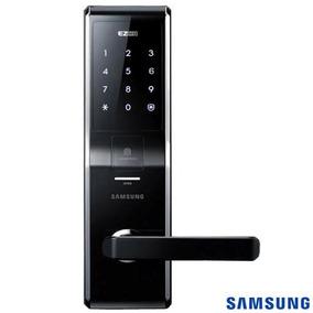 Fechadura Digital Biométrica Samsung Preta Prata Shs-h705