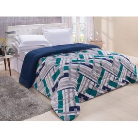 9dea194fd8 Edredom De Malha Solteiro Azul - Roupa de Cama no Mercado Livre Brasil