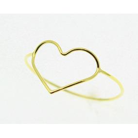 Anel Coração Vazado Ouro 18k Jsp1603