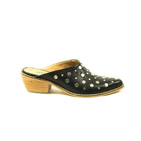 Zapato Lucerna Zueco Cuero Negro Tachas
