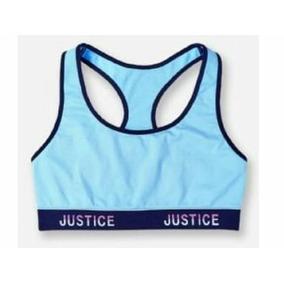 Top Sport Bra Justice Azul Para Niña Talla 10 , 12 , 14