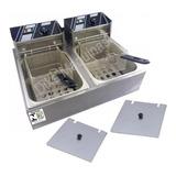 Fritadeira Elétrica Profissional 12l 2 Cubas 6l C/tampa 220v