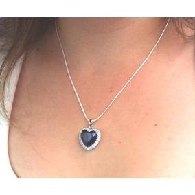 Corazón Del Oceano Titanic Collar + Aretes Con Zafiro Azul
