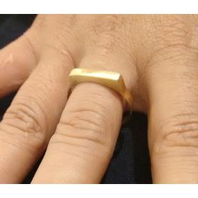Anel Quadro Chapinha Em Ouro 18k