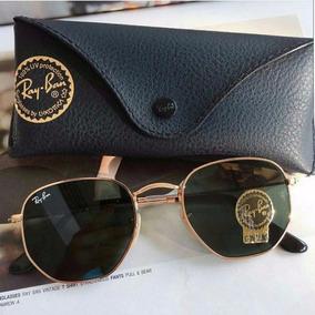 70448b6a294b0 Ray Ban Round Hexagonal Verde Escuro Original G15 Dourado - Óculos ...