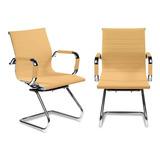 Kit 2 Cadeiras Esteirinha Couro Pu Interlocutor Secretária