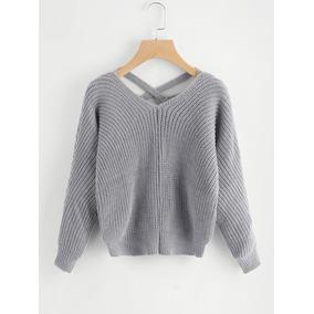Sweater Escote Espalda Mujer - Ropa y Accesorios Gris oscuro en ... 8ced230b93db