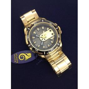 Relógio Masculino Original Atlantis Dourado Modelo Social