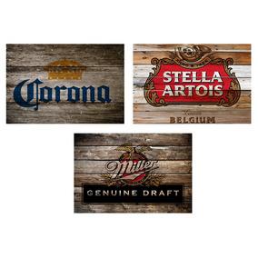 3 Quadros Madeira Rústico Cervejas Corona Stella E Miller