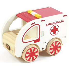Coleção Carrinho Ambulância Em Madeira