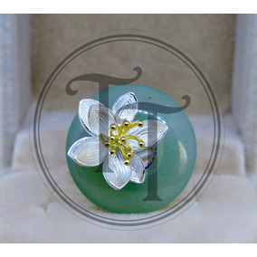Anillo Jade Natural Plata Esterlina 925/18k Ajustable 5 Al 7
