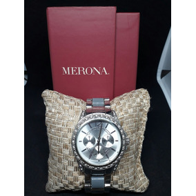 2b38f4952e2 Luxuoso Relógio Merona Em Madrepérola E Prata 90 ! Feminino ...