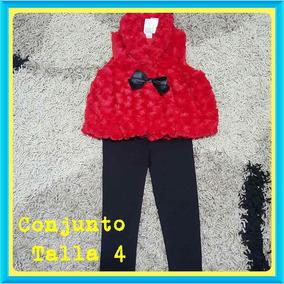 Conjunto Chaleco Rojo Y Leggins Negro Talla 4