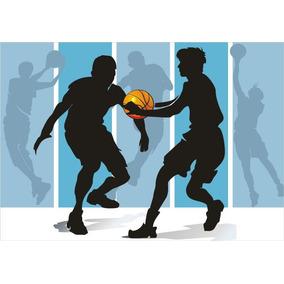 72a66515a2516 Adesivo Basquete Jogo Bola Papel Parede Esporte Gg138