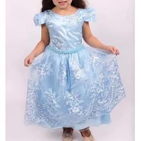 Vestido Infantil Festa Luxo Princesa Realeza Pink Azul 2186