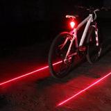 Lanterna Traseira Da Bicicleta 5 Led - Com 2 Laser Bike